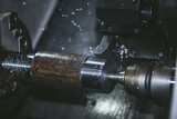 Lathe equipment in the factory manufacturing metal structures - 133411829