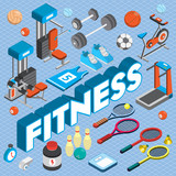 illustration of info graphic fitness concept in isometric 3d graphic