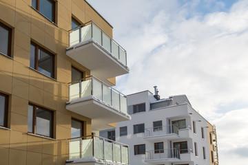 The balcony in a new block, architecture contemporary.