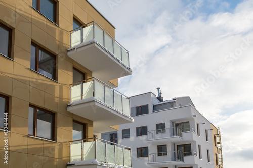 Fototapeta The balcony in a new block, architecture contemporary.