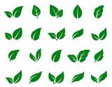 green leaf icons set - 133415627