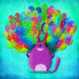Violet Standing Cat With Bunch Of Balloons