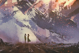 Fototapety man and woman standing against collapsing buildings city,illustration painting