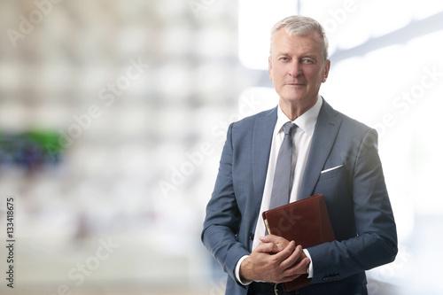 Senior businessman standing at office