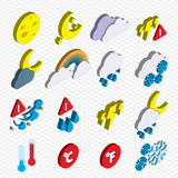 illustration of info graphic weather icons set concept in isometric 3d graphic
