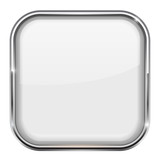 Fototapety White square button. Shiny 3d icon with metal frame