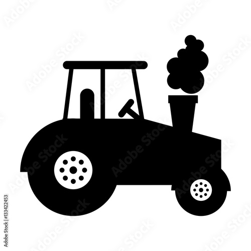 Poster tractor farm vehicle icon vector illustration design
