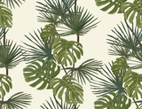 Fototapety Palm leaves. Tropical print. Exotic seamless pattern.