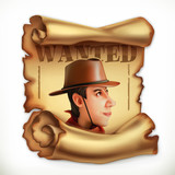 Wanted cowboy. Old paper scroll. 3d vector icon