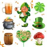 Feast of Saint Patrick. 3d vector icon set