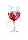 Fototapety Glass of a red wine.Picture of a alcoholic drink.Watercolor hand drawn illustration.