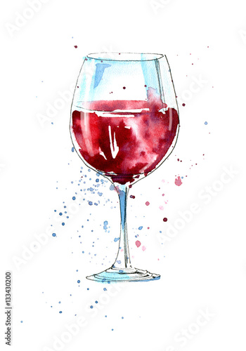 Glass of a red wine.Picture of a alcoholic drink.Watercolor hand drawn illustration. - 133430200