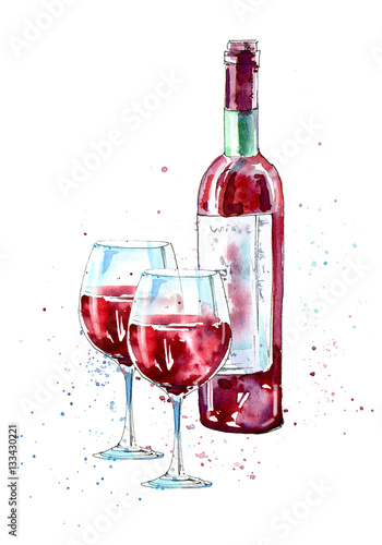 Bottle of red wine and glasses.Picture of a alcoholic drink.Watercolor hand drawn illustration. - 133430221