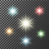 Multicolor glowing light burst explosion with transparent. Vector illustration for cool effect decoration ray sparkles.