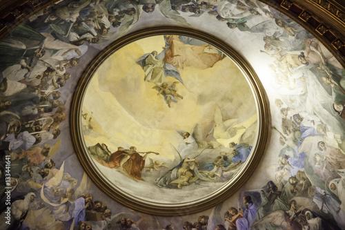 Poster Plafond du sanctuaire de Notre-Dame du Rosaire, Pompéi, Campanie, Italie
