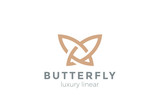 Butterfly Logo vector Linear. Beauty Fashion Jewelry Luxury icon