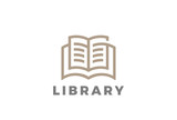 Book Logo Education Library design vector Linear style