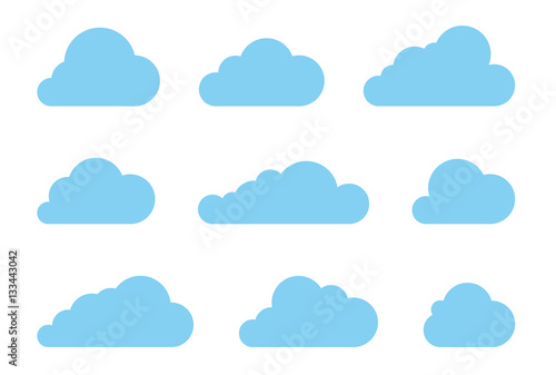 Fototapeta Cloud shapes design vector set. Data technology icons pack