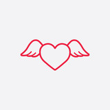 heart wings fly romantic line icon red on white background