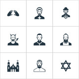 Set Of 9 Simple Faith Icons. Can Be Found Such Elements As David Star, Temple, Jewish Clergy And Other.