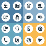 Set Of 16 Simple Communication Icons. Can Be Found Such Elements As Telephone Directory, Monitor, Earphone And Other.