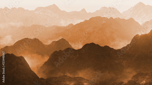 serene landscape with low crawling fog in stylized mountains, 3d illustration