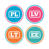 Language icons. PL, LV, LT and EE translation.