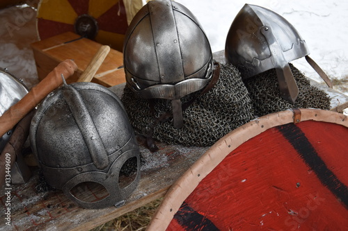 Poster Viking helmets, shields, and chainmail