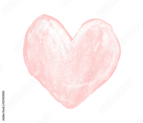Pale pink heart painted with gouache - 133450003