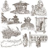 Nepal - Pictures of life. Travel. Full sized hand drawings, originals on white, isolated. Freehand drawings. - 133450228