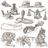 Nepal - Pictures of life. Travel. Full sized hand drawings, originals on white, isolated. Freehand drawings. - 133450259