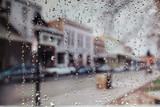 Raindrops on a window looking at an Old Sacramento Street