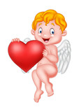Funny little cupid holding love heart