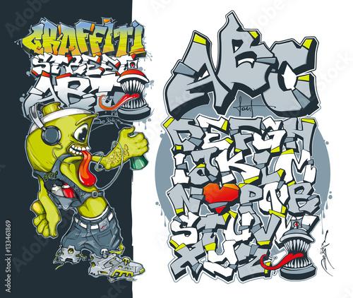 editable graffiti font aerosol graffiti paint spray street art