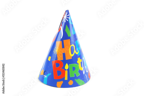 Foto Murales shiny party hat on white background