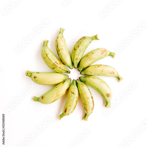 Poster Arranged bananas. Flat lay, top view. Creative food concept