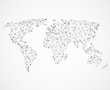 Fototapety Networking world map texture, low poly earth. Vector global communication concept