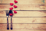 Table setting cutlery and red heart for dinner Valentine Day. - 133469261