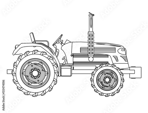 Poster Green Isolated Tractor Outline
