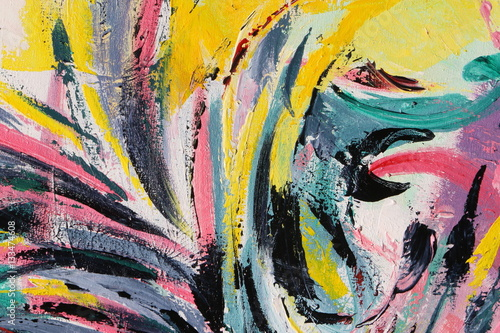 Wiosenny Festiwal. Wielobarwny malowanie tekstur. Streszczenie sztuka tło. Akryl na płótnie. Szorstkie pociągnięcia pędzla.