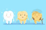 three different cute cartoon teeth