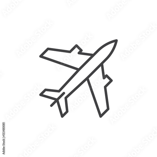 Poster Plane, aircraft line icon, outline vector sign, linear pictogram isolated on white