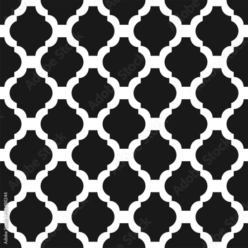 Black and white classic ornament seamless vector pattern. Monochrome geometric abstract repeat background. - 133480244