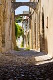 Narrow street in Rhodes town, Greece