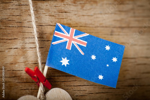 Poster Wood heart and Australia flag