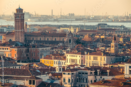 Staande foto Rome Aerial view in winter from the San Marco Square, Venice, Veneto, Italy. Panoramic view at sunset.