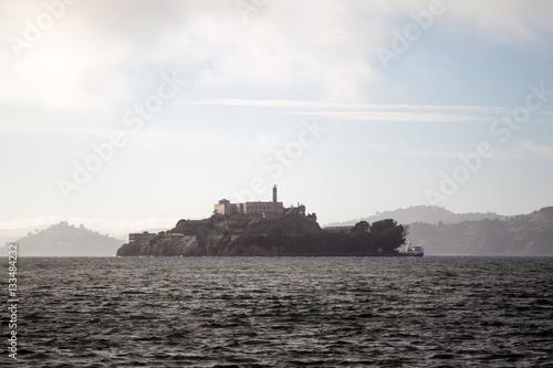 Poster Die Gefängnisinsel Alcatraz in der Buch von San Francisco, Kalifornien, USA