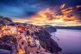 Old Town of Oia or Ia on the island Santorini