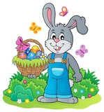 Bunny holding Easter basket theme 4