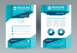 Business brochure layout template. A4 size. Front and back page. Vector background with infographic elements. Can be used for cover design, flyer, leaflet, booklet